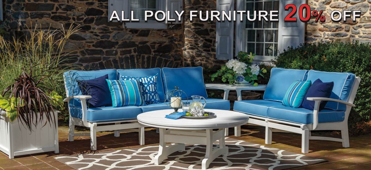 Casual Comfort Bayshore Poly Deep Seating Collection Sofa - Loveseat - Chair with Ottoman - Fire Table all furniture with Sumbrella cushions