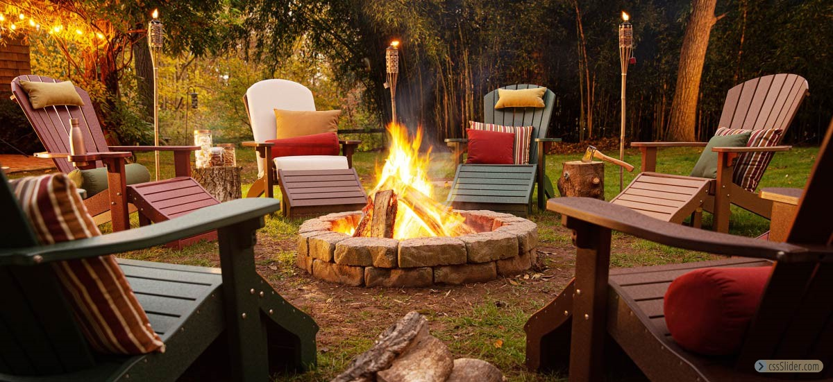 Finch-Poly-Adirondack-Chairs-around-Firepit-with-tiki-tourches-outdoor-furniture-grasonville-maryland